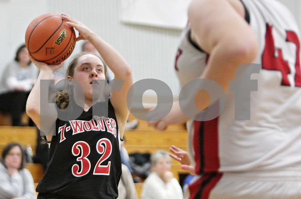 Rob Winner – rwinner@shawmedia.com<br /> <br /> Indian Creek's Jacklyn Bouma (32) puts up a shot for two points in the first quarter during the Class 1A Hinckley-Big Rock Regional semifinal in Hinckley, Ill., Tuesday Feb.5, 2013.