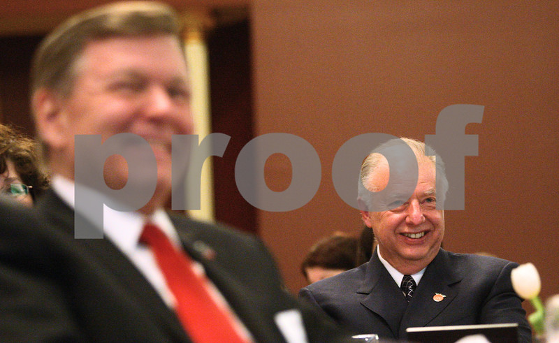 Kyle Bursaw – kbursaw@shawmedia.com<br /> <br /> Northern Illinois University President John Peters smiles as he is recognized at the DeKalb Chamber of Commerce annual meeting in Altgeld Hall in DeKalb, Ill. on Thursday, Jan. 31, 2013.
