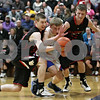 Rob Winner – rwinner@shawmedia.com<br /> <br /> Indian Creek's Garrett Post (from left to right), Hinckley-Big Rock's Michael Bayler and Indian Creek's Tyler Reynolds look to control a ball under the Royals' basket in the first quarter during the Little 10 Conference tournament final in Somonauk, Ill., Friday Feb. 1, 2013