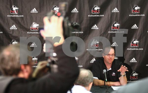 Kyle Bursaw – kbursaw@shawmedia.com<br /> <br /> Northern Illinois head coach Rod Carey talks to the media about the 2013 recruiting class in the Yordon Center on Wednesday, Feb. 6, 2013.