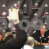 Kyle Bursaw – kbursaw@shawmedia.com<br /> <br /> Northern Illinois head coach Rod Carey talks to the media about the 2013 recruiting class in the Yordon Center on Wednesday, Feb. 6, 2013.