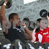 Kyle Bursaw – kbursaw@shawmedia.com<br /> <br /> Northern Illinois University football players Jamaal Bass (left) and Sean Folliard lift dumbbells during a portion of their workout in the Yordon Center on Friday, Feb. 1, 2013.