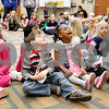 Erik Anderson - For the Daily Chronicle<br /> Cortland Elementary kindergartners sit as the number 0 in 100 to celebrate the 100th day of school at Cortland Elementary in Cortland on Friday, February 8, 2013.