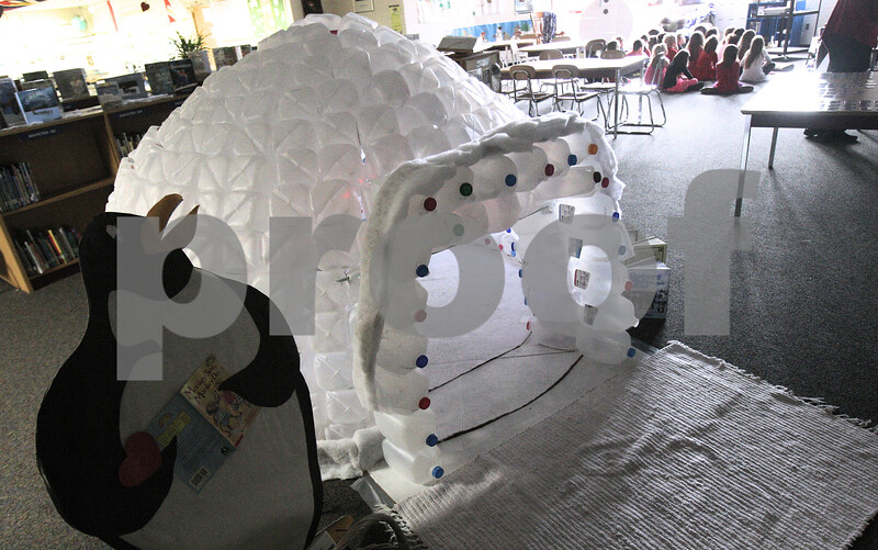 Kyle Bursaw – kbursaw@shawmedia.com<br /> <br /> South Prairie Elementary's library has an igloo made of more than 400 empty milk containers for a few kids at a time to read inside of in Sycamore, Ill. on Thursday, Feb. 14, 2013.