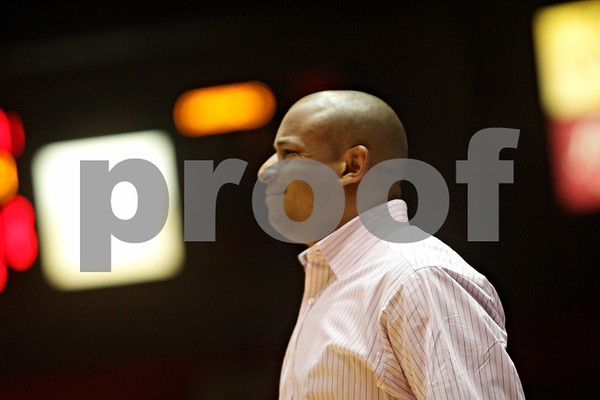 Rob Winner – rwinner@shawmedia.com<br /> <br /> Northern Illinois coach Mark Montgomery reacts to a play during the second half of game against Ball State in DeKalb, Ill., Wednesday, Feb. 13, 2013. Ball State defeated NIU, 56-52.