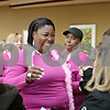 "Rob Winner – rwinner@shawmedia.com<br /> <br /> Shatoya Black (center) leans in to embrace Sheri DuBeau (right) after arriving at Kishwaukee Community Hospital for the third annual ""This One's for the Girls"" expo on Saturday, Feb. 16, 2013. Black, a single mother and cancer survivor, was the winner of Kishwaukee Community Hospital's ""This One's for the Girls"" limousine contest. DuBeau was part of the hospital's committee that nominated Black for the contest."