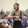 Rob Winner – rwinner@shawmedia.com<br /> <br /> Sycamore's Dylan Foster reacts after picking up two points during his 145-pound match against Yorkville's Bryce Shewan (not pictured) at the Class 2A Rochelle Dual Team Sectional on Tuesday, Feb. 19, 2013. Foster won with a 7-3 decision. Sycamore defeated Yorkville, 30-28.