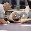 Rob Winner – rwinner@shawmedia.com<br /> <br /> Sycamore's Bryce Hansen (front) is pinned by Yorkville's Tyler Burlington in their 106-pound match during the Class 2A Rochelle Dual Team Sectional on Tuesday, Feb. 19, 2013. Sycamore defeated Yorkville, 30-28.