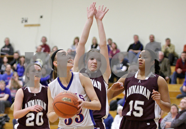 Rob Winner – rwinner@shawmedia.com<br /> <br /> Hinckley-Big Rock's Karrigan Cowan (33) looks to shoot in the third quarter during the Class 1A Oglesby Sectional final in Oglesby, Ill., Thursday, Feb. 14, 2013. Annawan defeated H-BR, 64-44.