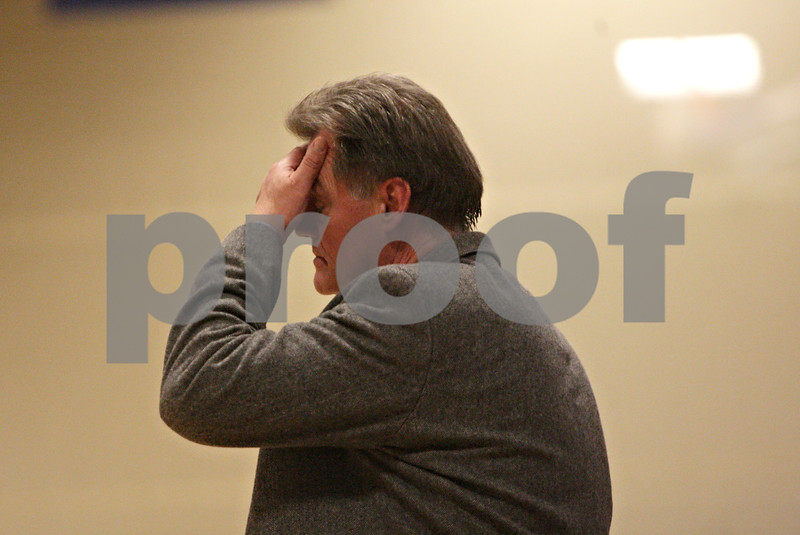 Rob Winner – rwinner@shawmedia.com<br /> <br /> Hinckley-Big Rock coach Bill Sambrookes reacts after a play in the fourth quarter during the Class 1A Westminster Christian Regional final at Judson University in Elgin, Ill., Friday, Feb. 22, 2013. Mooseheart defeated Hinckley-Big Rock, 55-38.