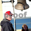 Kyle Bursaw – kbursaw@shawmedia.com<br /> <br /> Long-time NIU season ticket holder and Hampshire resident Larry Brodersen rings the bell outside the Convocation Center as he and other fans wait to welcome back the Huskies to DeKalb on Wednesday, Jan. 2, 2013.