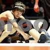 Kyle Bursaw – kbursaw@shawmedia.com<br /> <br /> DeKalb's Parker Stratton wrestles against Yorkville's Tyler Burlington in the 106-pound match at DeKalb High School on Thursday, Jan. 3, 2013. Stratton defeated Burlington 6-2.