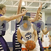 Rob Winner – rwinner@shawmedia.com<br /> <br /> Genoa-Kingston's Connor Bankson (32) looks to pass while being pressured by three Wilmington defenders in the second quarter at the Plano Christmas Classic on Saturday, Dec. 29, 2012. G-K defeated Wilmington, 63-58.