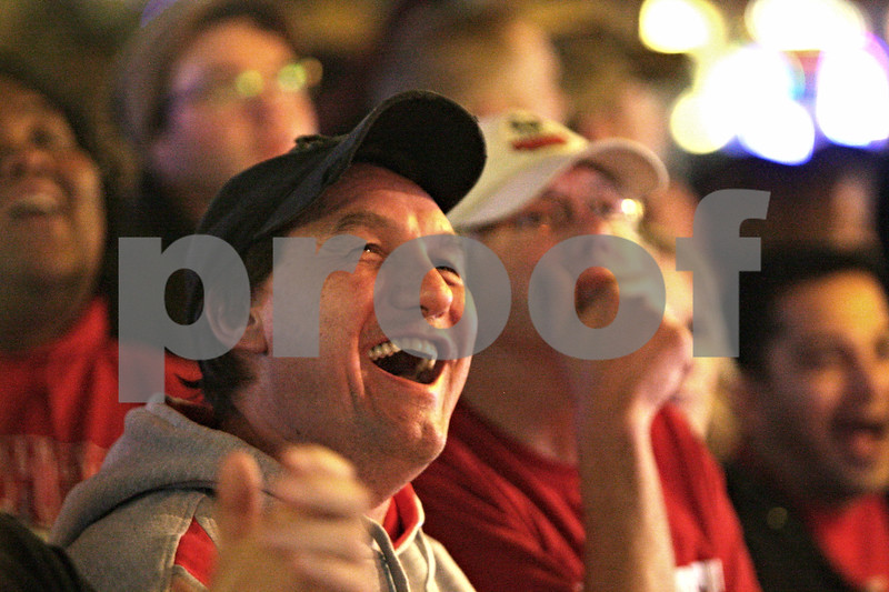 Rob Winner – rwinner@shawmedia.com<br /> <br /> Northern Illinois alum Bryan Utz, of Slinger, Wis., reacts to a play during the first half of the Orange Bowl while watching the game at Fatty's Pub & Grille in DeKalb, Ill., Tuesday, Jan. 1, 2013.