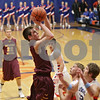 Rob Winner – rwinner@shawmedia.com<br /> <br /> Richmond-Burton's Sam Kaufman takes a shot in the first quarter in Genoa, Ill., Friday, Jan. 11, 2013. Genoa-Kingston defeated R-B, 63-50.