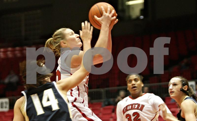 Rob Winner – rwinner@shawmedia.com<br /> <br /> Northern Illinois' Jenna Thorp puts up a shot during the first half in DeKalb, Ill., Wednesday, Jan. 16, 2013.
