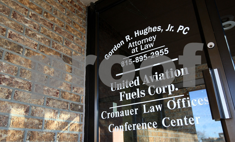 Kyle Bursaw – kbursaw@shawmedia.com<br /> <br /> The door to United Aviation Fuels Corp as well as a few other businesses at 1101 DeKalb Avenue in Sycamore, Ill. on Monday, Jan. 14, 2013.