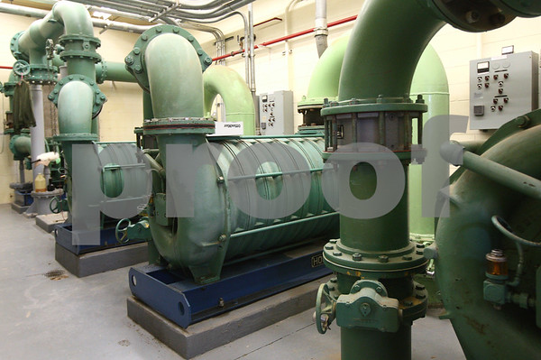 Kyle Bursaw – kbursaw@shawmedia.com<br /> <br /> The older blowers, which push air into the tanks in Sycamore's wastewater treatment plant, are seen on Wednesday, Jan. 23, 2013. Some newer models have been added in another part of the plant during an earlier phase of the renovations.