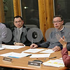 Rob Winner – rwinner@shawmedia.com<br /> <br /> DeKalb Park District board members including Mike Teboda (from left to right), Phil Young and David Mason listen to Executive Director Cindy Capek during a recent park board meeting at Hopkins Park in DeKalb, Ill.<br /> <br /> Wednesday, Jan. 16, 2013