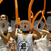 Rob Winner – rwinner@shawmedia.com<br /> <br /> Junior Ethan Graves (center) cheers on the DeKalb girls basketball team during the third quarter at the Convocation Center in DeKalb, Ill., Friday, Jan. 25, 2013.