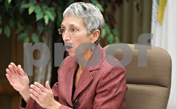 Rob Winner – rwinner@shawmedia.com<br /> <br /> DeKalb Park District Executive Director Cindy Capek speaks during a park board meeting at Hopkins Park in DeKalb, Ill. on Wednesday, Jan. 16, 2013.