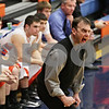 Rob Winner – rwinner@shawmedia.com<br /> <br /> Genoa-Kingston coach Corey Jenkins reacts to a play during the first quarter in Genoa, Ill., Tuesday, Jan. 8, 2013. Hinckley-Big Rock defeated G-K, 51-40.