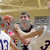 Rob Winner – rwinner@shawmedia.com<br /> <br /> Indian Creek's Garrett Post (center) is called for an offensive foul after colliding with Hinckley-Big Rock's Jared Madden (3) during the second quarter in Hinckley, Ill., Tuesday, Jan. 15, 2013. H-BR defeated Indian Creek, 64-60.