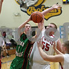 Rob Winner – rwinner@shawmedia.com<br /> <br /> Leland-Earlville's Andrew Walsh (1) is fouled while taking a shot by Indian Creek's Garrison Govig (55) in the second quarter at the Little Ten Conference tournament in Somonauk, Ill., Monday, Jan. 28, 2013.