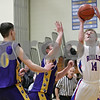 Rob Winner – rwinner@shawmedia.com<br /> <br /> Hinckley-Big Rock's Michael Bayler (14) puts up a sho in the first quarter during the Little Ten Conference tournament against Paw Paw in Somonauk, Ill., Thursday, Jan. 31, 2013. H-BR defeated Paw Paw, 58-47.