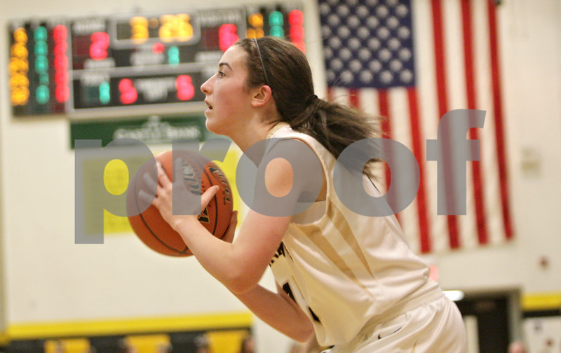 Rob Winner – rwinner@shawmedia.com<br /> <br /> Sycamore's Lauren Goff looks to the basket before a three-pointer during the first quarter in Sycamore, Ill., Friday, Jan. 18, 2013. Sycamore defeated Kaneland in overtime, 49-48.