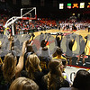 Kyle Bursaw — kbursaw@shawmedia.com<br /> <br /> Sycamore fans cheer as one of their players shoots a free throw on the far side of the court in the second quarter. DeKalb and Sycamore faced off in their annual game at the Convocation Center in DeKalb, Ill. on Friday, Jan. 25, 2013.