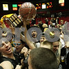 Rob Winner – rwinner@shawmedia.com<br /> <br /> The Sycamore boys basketball team celebrates their 55-32 victory over DeKalb with their fans at the Convocation Center in DeKalb, Ill., Friday, Jan. 25, 2013.