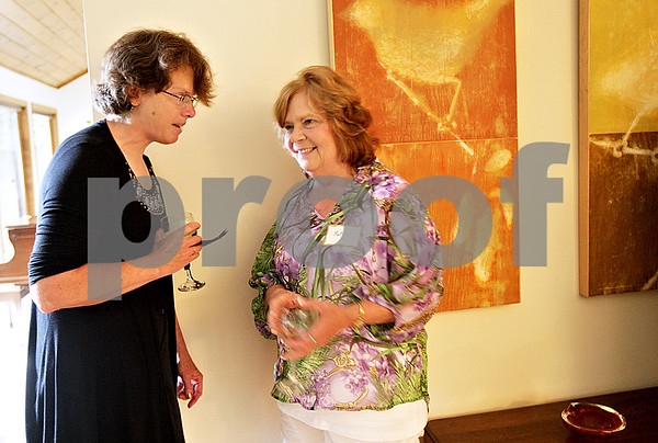 Monica Maschak - mmaschak@shawmedia.com<br /> Library employee Jeanine Thurmaier and Assistant Director of DeKalb Library Pat Adamkiewicz enjoy themselves at a party thrown by DeKalb Library Board President Clark Nehrer and his wife in their DeKalb home on Saturday, June 29, 2013. The party celebrated the end of the fiscal year and the grant that is allowing them to move forward with a major expansion to the library.