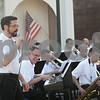 "Monica Maschak - mmaschak@shawmedia.com<br /> Gavin Wilson, a trumpet player for Jazz in Progress, sings, ""Alright, Okay, You Win"" with the band during a Tuesdays on the Town: Salute to America event in Sycamore on July 9, 2013. Tuesdays on the Town are presented by the city of Sycamore and Discover Sycamore."