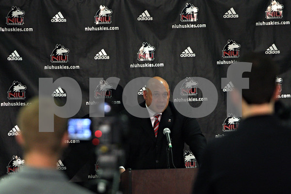Rob Winner – rwinner@shawmedia.com<br /> <br /> The newly introduced director of athletics Sean Frazier fields questions during a press conference at the Yordon Center on the NIU campus in DeKalb, Ill., Tuesday, July 16, 2013.