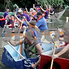 Monica Maschak - mmaschak@shawmedia.com<br /> After the individual races, all participants with a floating boat lined up for the head-to-head race at the annual Kardboard Regatta at the Kingston Township Park on Saturday, July 20, 2013.