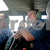 Monica Maschak - mmaschak@shawmedia.com<br /> Second in Command Fred DeWitt and Flight Crew Chief Jim Ritchie look at the view while flying in a B-17G Bomber Flying Fortress on Monday, July 22, 2013. The Bomber, visiting from Arizona, is on display at the DeKalb Taylor Municipal Airport through Sunday.