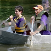 Monica Maschak - mmaschak@shawmedia.com<br /> Max and his dad, Troy Sieroslawski, struggle their way through the course in their S.S. Humble at the annual Kardboard Regatta at the Kingston Township Park on Saturday, July 20, 2013.