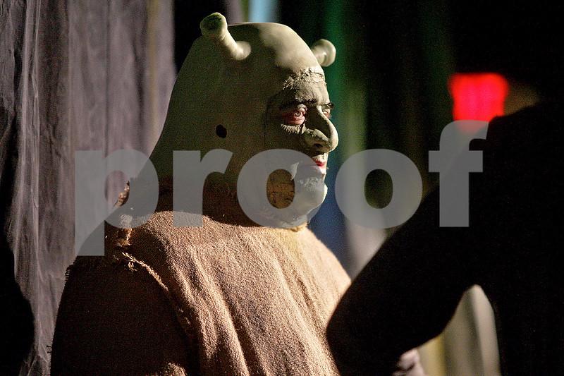 Monica Maschak - mmaschak@shawmedia.com<br /> Dan Hyde, as Shrek, during a dress rehearsal for Shrek the Musical at Stage Coach Player in Dekalb on Tuesday, June 4, 2013. The show opens on Thursday, June 6 and run through June 16.