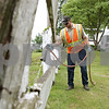 Rob Winner – rwinner@shawmedia.com<br /> <br /> Matt Dyson, of Genoa Public Works, sprays for weeds near the railroad tracks that divide North State Street in Genoa, Ill., Tuesday, June 4, 2013.