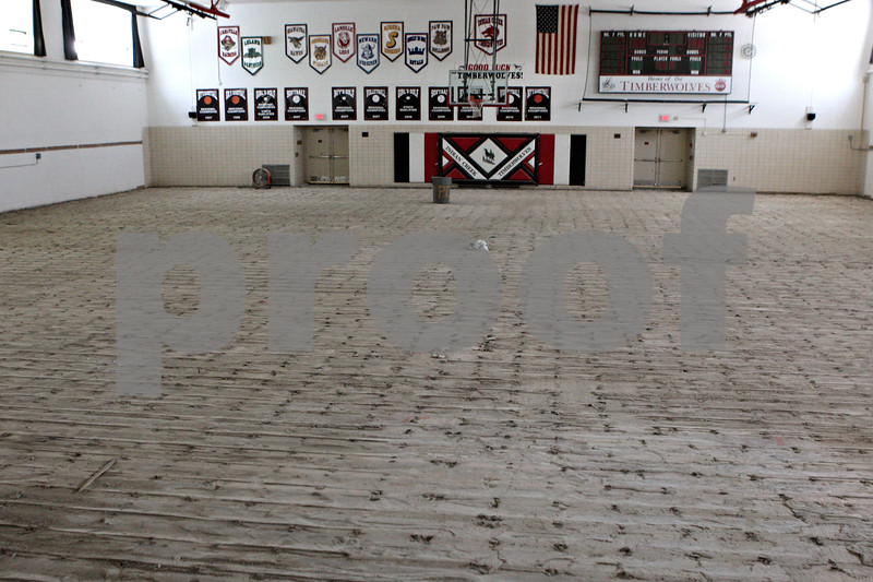 Rob Winner – rwinner@shawmedia.com<br /> <br /> The wooden floor boards inside the gymnasium at Indian Creek High School in Shabbona, Ill. has been removed as seen on Tuesday, June 11, 2013. Installation of a new floor should be complete this August.