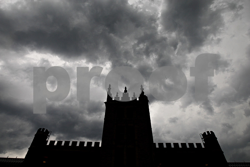Monica Maschak - mmaschak@shawmedia.com<br /> Daunting storm clouds slowly roll over Altgeld Hall on Northern Illinois University's campus on Wednesday, June 12, 2013. Multiple reports confirmed a tornado touching the ground in Somonauk at 4:56 p.m. DeKalb County remains under a tornado watch until 9 p.m. according to the National Weather Service.