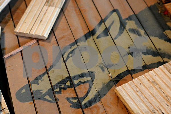 Rob Winner – rwinner@shawmedia.com<br /> <br /> The timber wolves painted on the old wooden floor boards at Indian Creek High School in Shabbona, Ill. have been saved as seen on Tuesday, June 11, 2013. Installation of a new floor should be complete this August.