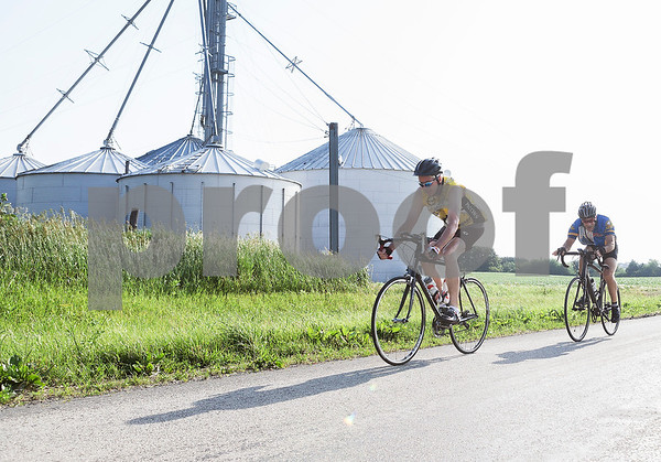 Erik Anderson - For the Daily Chronicle<br /> Two bicyclists ride west on Keslinger Road during the Bike MS: Tour de Farms in DeKalb on Sunday, June 23, 2013. There were over 2,500 participants who began the race at NIU's Convocation Center that rode a 15, 35, or 75 mile route.