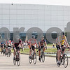 Erik Anderson - For the Daily Chronicle<br /> The first riders of the pack take off from the starting line just after 7 a.m. during the Bike MS: Tour de Farms in DeKalb on Sunday, June 23, 2013. There were over 2,500 participants who began the race at NIU's Convocation Center that rode a 15, 35, or 75 mile route.