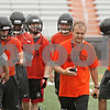 Rob Winner – rwinner@shawmedia.com<br /> <br /> DeKalb coach Matt Weckler gathers his team after a 7-on-7 game against Genoa-Kingston at DeKalb High School on Monday, June 24, 2013.