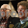 Kyle Bursaw – kbursaw@shawmedia.com<br /> <br /> John 'Doc' Ovitz watches a slideshow presented by Barry Schrader (not pictured) for Ovitz's 99th birthday at a Sycamore Rotary Club meeting at the Jane Fargo Hotel on Wednesday, Feb. 27, 2013.