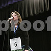 """Rob Winner – rwinner@shawmedia.com<br /> <br /> Samantha Anderson, 13, of Clinton Rosette Middle School, correctly spells the word """"coyote"""" in the second round during the DeKalb County Spelling Bee at Kishwaukee College in Malta, Ill., Saturday, Feb. 23, 2013."""