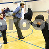 Kyle Bursaw – kbursaw@shawmedia.com<br /> <br /> Second-grader Joshua Klemm tips his hat to his corner Nicole Skrzypek (left) while square dancing during gym class at St. Mary school in DeKalb, Ill. on Friday, March 1, 2013.