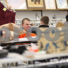 Kyle Bursaw – kbursaw@shawmedia.com<br /> <br /> Sycamore student Curtis Swartzendruber shows a pair of shorts to his classmates at Salvation Army in DeKalb, Ill. on Thursday, Feb. 21, 2013. The students were shopping for their student section's thrift shop theme night the next day during the basketball game against DeKalb.